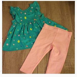 **5 for $15** Fruit Pattern Green Blouse w/ pants